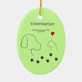 Veterinarian-Paw prints on my heart Ceramic Ornament