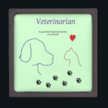 "Veterinarian-Paw prints on my heart Gift Box<br><div class=""desc"">Veterinarians get into the field of veterinary medicine because they love animals. As they get to know their patients, each one touches them in some way and leaves a paw print on their heart. Show your love of the profession or show that special veterinarian that you appreciate how they care...</div>"
