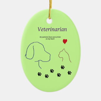 Veterinarian-Paw prints on my heart Christmas Ornaments