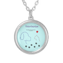 Veterinarian-Paw prints on my heart Silver Plated Necklace