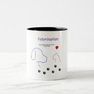 Veterinarian-Paw prints on my heart Two-Tone Coffee Mug