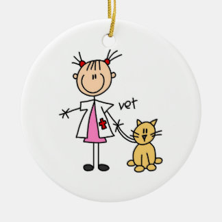 Veterinarian Stick Figure Ceramic Ornament