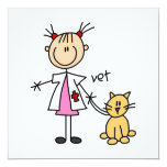 """Veterinarian Stick Figure 5.25"""" Square Invitation Card"""