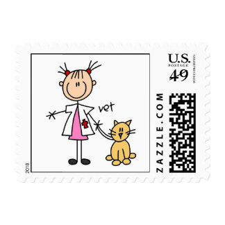 Veterinarian Stick Figure Postage