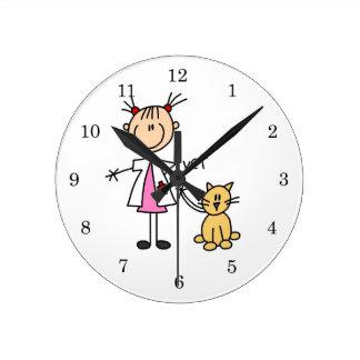 Veterinarian Stick Figure Round Clock
