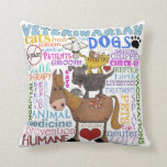 "Veterinarian-Subway Art Vet Terms Throw Pillow<br><div class=""desc"">A colorful subway art inspired image of Veterinarian terms featuring animals and symbols that tie into what it is to be a veterinarian. Original design by Christie Black of &#169;Creations from the Heart.</div>"