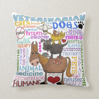 Veterinarian-Subway Art Vet Terms Throw Pillow