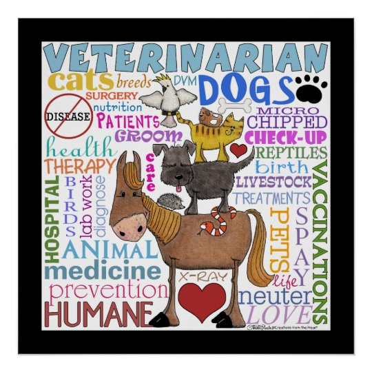Veterinarian-Subway Art Vet Terms with Border Poster