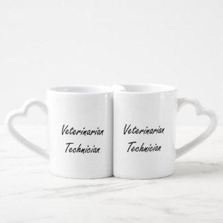 Veterinarian Technician Artistic Job Design Couples' Coffee Mug Set