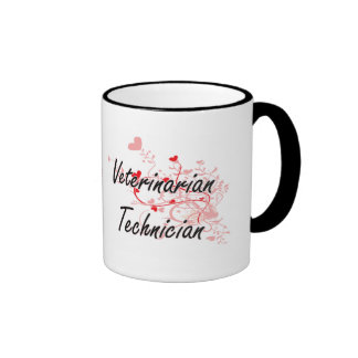 Veterinarian Technician Artistic Job Design with H Ringer Coffee Mug