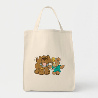 veterinarian vet teddy bear design grocery tote bag