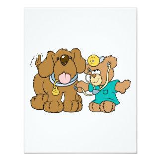 veterinarian vet teddy bear design 4.25x5.5 paper invitation card