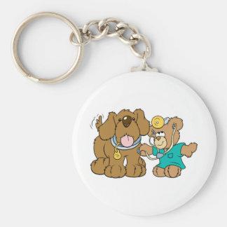 veterinarian vet teddy bear design basic round button keychain