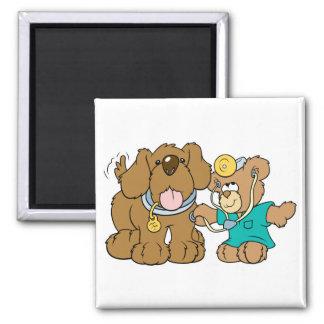 veterinarian vet teddy bear design 2 inch square magnet