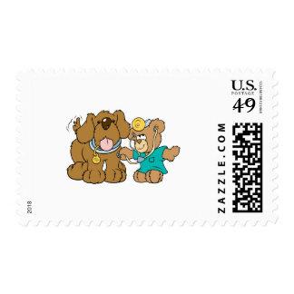 veterinarian vet teddy bear design postage stamp