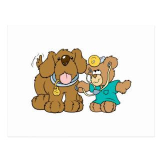 veterinarian vet teddy bear design postcard