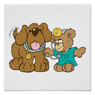 veterinarian vet teddy bear design poster