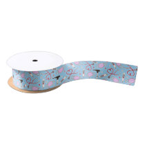 Veterinarian / Veterinary Technician Pattern Blue Satin Ribbon