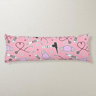 Veterinarian / Veterinary Technician Pattern Pink Body Pillow