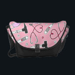 "Veterinarian Veterinary Technician Pattern Pink Courier Bag<br><div class=""desc"">Veterinarian Veterinary Technician Pattern Pink</div>"