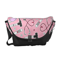 Veterinarian Veterinary Technician Pattern Pink Courier Bag