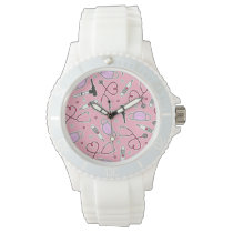 Veterinarian Veterinary Technician Pattern Pink Watch