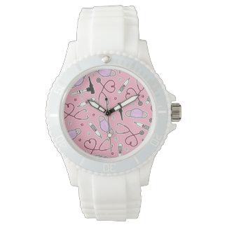 Veterinarian Veterinary Technician Pattern Pink Watch