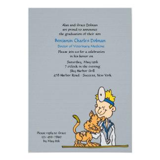 "Veterinarian With Cat Graduation Invitation 5"" X 7"" Invitation Card"