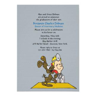 "Veterinarian With Dog Graduation Invitation 5"" X 7"" Invitation Card"