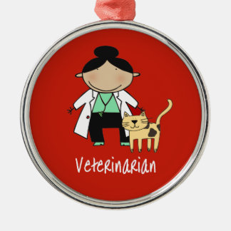 Veterinarian Woman with Cat Ornament