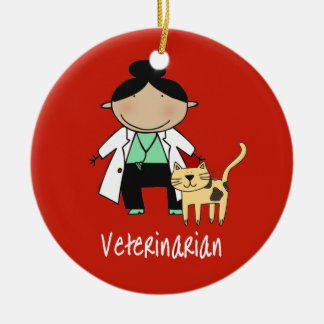 Veterinarian Woman with Cat Personalized Ornament