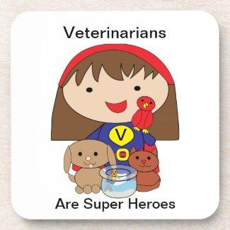Veterinarians Are Super Heroes Cork Coaster