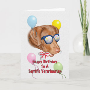Veterinarians Birthday Card With Lab Dog
