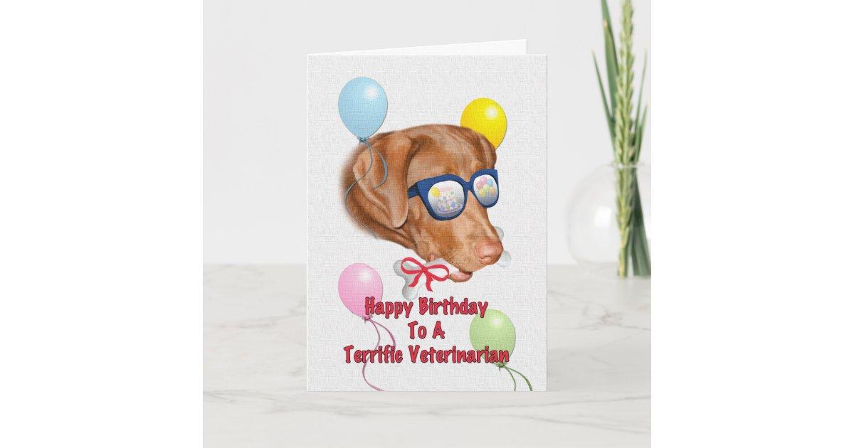 Veterinarians Birthday Card With Lab Dog