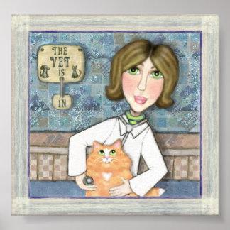 Veterinario con el gato persa del jengibre póster