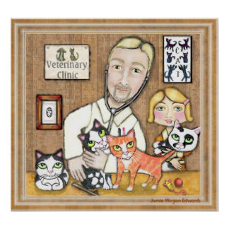 Veterinario con los gatitos poster