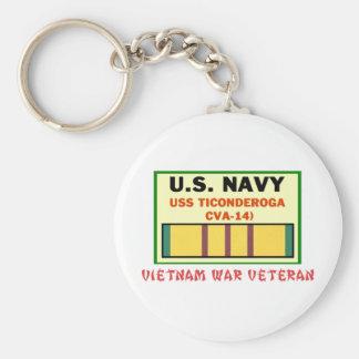 Veterinario de CVA-14 TICONDEROGA Vietnam Llavero Redondo Tipo Pin