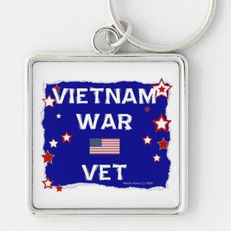 Veterinario de la guerra de Vietnam Llavero Cuadrado Plateado