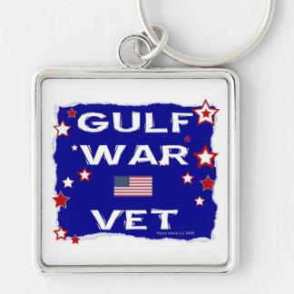 Veterinario de la guerra del Golfo Llavero Cuadrado Plateado