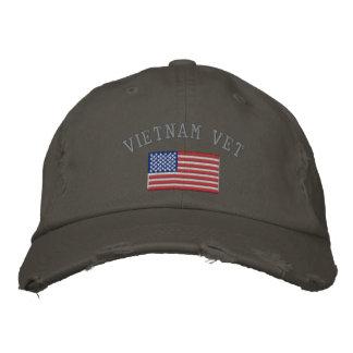 Veterinario de Vietnam con la bandera americana Gorras De Beisbol Bordadas