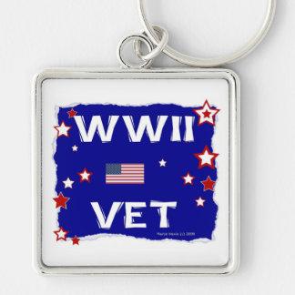 Veterinario de WWII Llavero Cuadrado Plateado