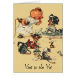 Veterinario del vintage - visita al veterinario tarjeta