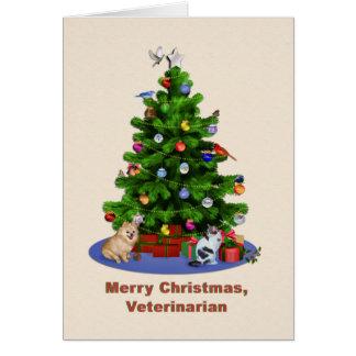 Veterinario, feliz árbol de navidad, pájaros, tarjeta de felicitación