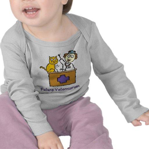 Veterinario futuro - chica con el gato camisetas
