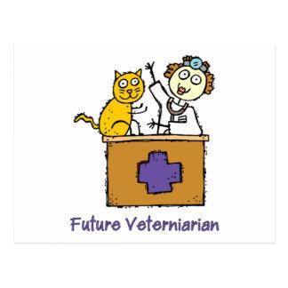Veterinario futuro - chica con el gato postales