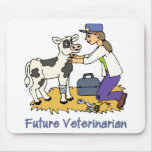 Veterinario futuro - chica con la vaca tapetes de raton