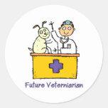 Veterinario futuro - muchacho pegatina redonda