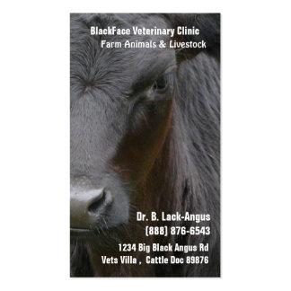Veterinario grande del ganado - vaca negra de Angu Tarjetas De Visita