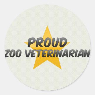 Veterinario orgulloso del parque zoológico pegatina redonda