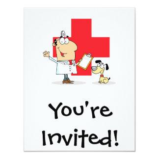 """Veterinario tonto del veterinario del dibujo invitación 4.25"""" x 5.5"""""""